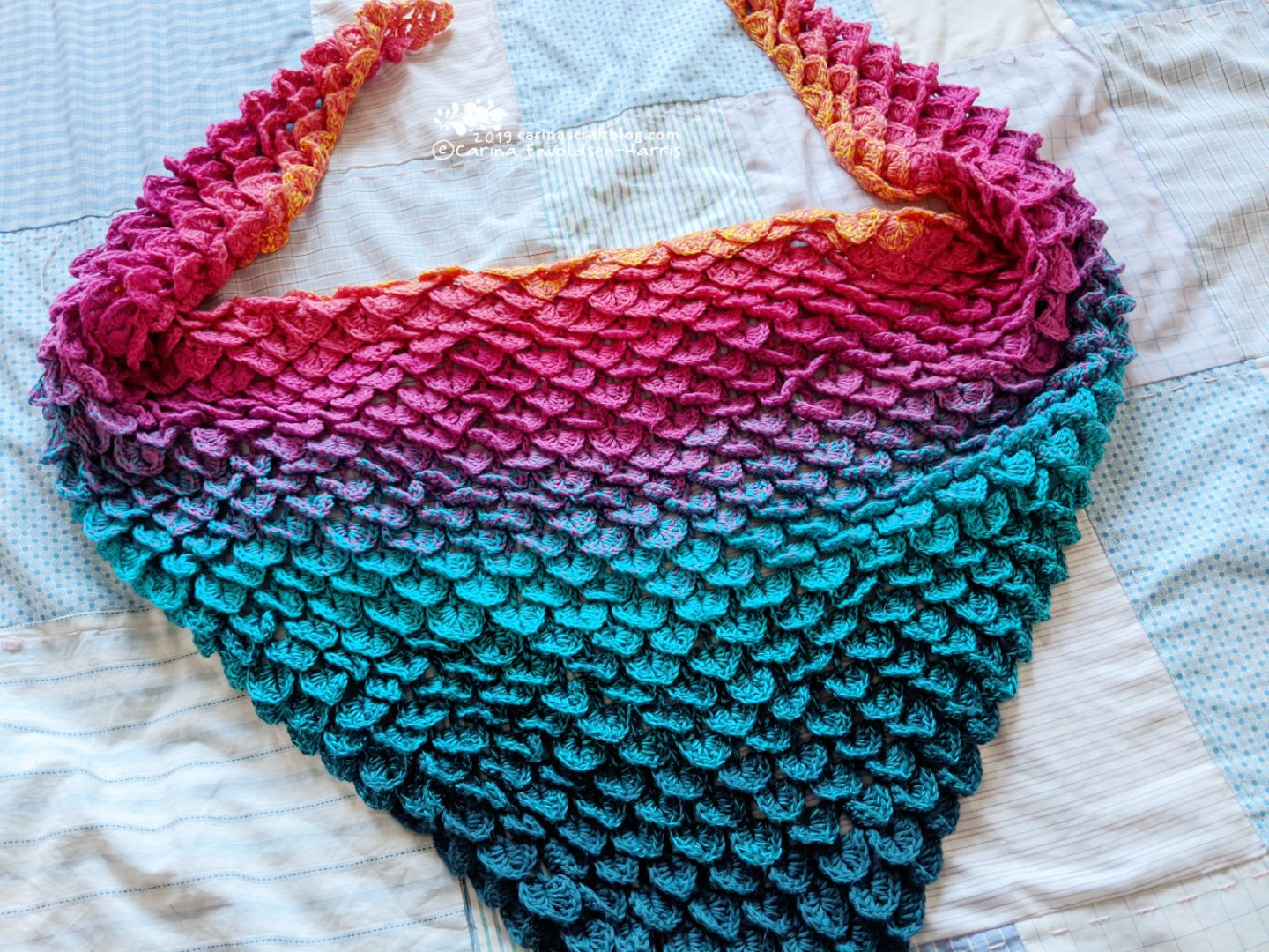 Crochet scarf in a rainbow of colours